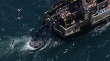 Aerial Of Fishing Boat, Hauling In Nets