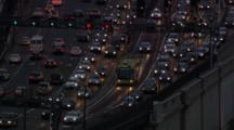 Aerial Traffic In Sydney, Cars With Headlights On