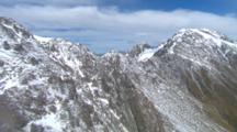 Aerial Abel Tasman National Park, Over Snow Dusted Mountains Peaks