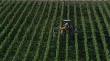 Aerial Of Vineyards, Vine Trimming Machine