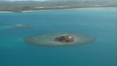 Aerial Of Small Tropical Island, Coral Reef