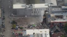 Aerial Christchurch Earthquake, Building Collapse, Smoldering Rubble