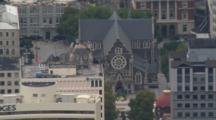 Aerial Christchurch Earthquake, Cathedral With Toppled Spire