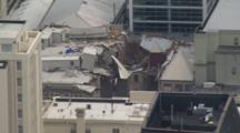 Aerial Christchurch Earthquake, Fallen Cathedral Spire On Building Roof