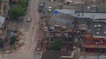Aerial Christchurch Earthquake, Damaged Building, Rubble In Street