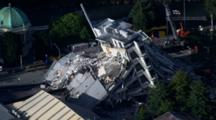Aerial Christchurch Earthquake, Emergency Crews Near Severely Damaged Buildings