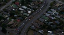 Aerial Christchurch Earthquake, Slow Moving Traffic Through Suburb