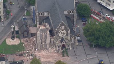 Christchurch Earthquake Aerial Stock Footage