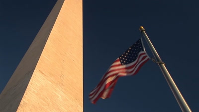 Looking Up At The Washington Monument And Flag, Washington, D.C.