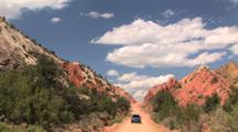 Car Driving Down Cottonwood Road, Grand Staircase Escalante National Monument, Utah, Time Lapse,