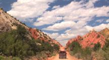 Car Driving Up Cottonwood Road, Grand Staircase Escalante National Monument, Utah, Time Lapse,