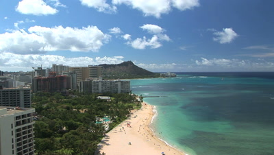 Waikiki Beach With Diamond Head In The Distance, Honolulu, Hawaii, Time Lapse