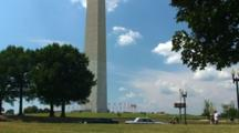 Tourists And Road In Front Of Washington Monument, Time Lapse
