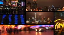Six Clips Of Downtown Shanghai, China.  Nanjing Street, The Bund, & Pudong At Night.