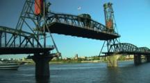 Steel Bridge Raising In Portland, Oregon.  Time Lapse