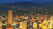 Downtown Portland, Oregon With Mt. Hood In The Distance