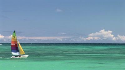 Sailboat On The Ocean, Kailua Beach, Hawaii, Oahu