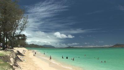 People Swimming In  Kailua Beach, Hawaii