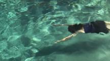 Boy (5 Yrs Old) And Woman (36 Yrs Old) Swimming Underwater In A Pool, Camarillo, California