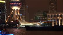 Lit Up Boat Passes Pudong, Shanghai, China, River Huangpu, Skyline At Night, Zoom Out