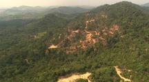 Aerial View Of Malaysia, Dense Forest, Clearings, Roads