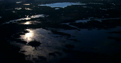 Aerial sunset shot over the Okavango Delta
