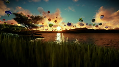 Air balloons flying over beautiful lake and green meadow surrounded by mountains, sunrise travelling shot