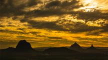 Glass House Mountains Time Lapse Sunset, Clouds, Sky