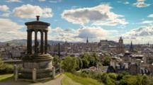 Edinburgh Carlton Hill, Scenic Timelapse,Moving Clouds And Traffic