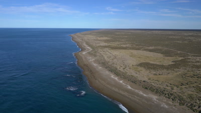 Aerial view of Punta Norte with sea lion colony,4 K Aerial wide shot