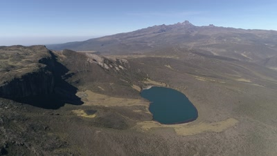 High view on Lake Alice with Mt Kenya in the background, 4k Aerial