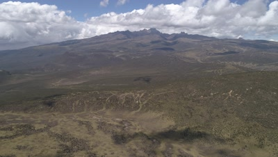 Move with the clouds over plateau towards Mt Kenya, 4k Aerial