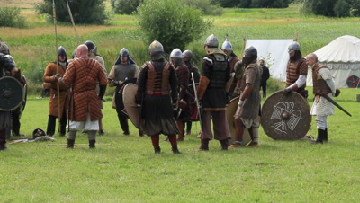Viking worriers training battle technik to explore the history,these events take place at the viking castle Trelleborg