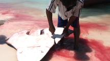 Shark Finning, Tail Fin Cut Off And Passed To Children In Sea