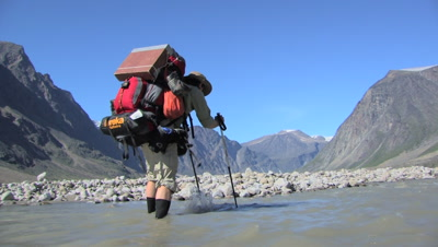 River Crossing In Auyuittuq National Park, Baffin Island