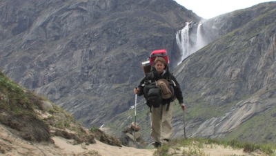 Hiking & Waterfall In Auyuittuq National Park, Baffin Island