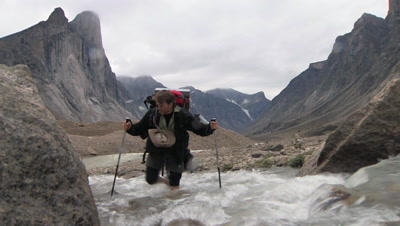 Crossing River, Mount Thor In Background, Auyuittuq National Park, Baffin Island