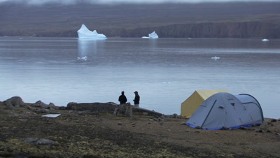 Camping With Icebergs In Background, Near Qikitarjuaq, Baffin Island