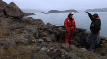 Inuit Guide Showing Archeological Inuit Site, Near Auyuittuq National Park And Qikitarjuaq, Baffin Island
