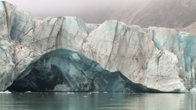 Glacier With Ice Arch, Coronation Fiord, Auyuittuq National Park, Baffin Island