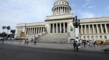 Havana, Cuba. Street Scene In Front Of The Capitol Building.