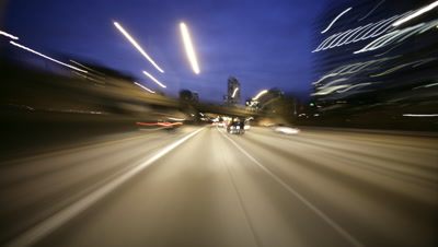 Car POV through city streets,Seattle,WA