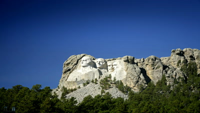 Mount Rushmore National Monument with light and shadow changing