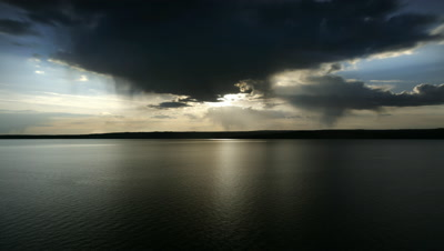 Storm over Yellowstone Lake in Yellowstone NP,WY