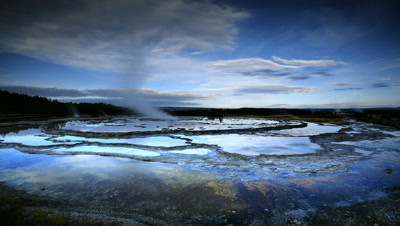 Geyser and Terraces at Yellowstone NP,WY