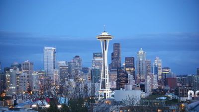 Seattle skyline with Space Needle,Seattle WA