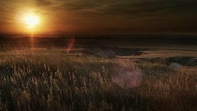 Grasslands at sunset,Badlands NP,SD