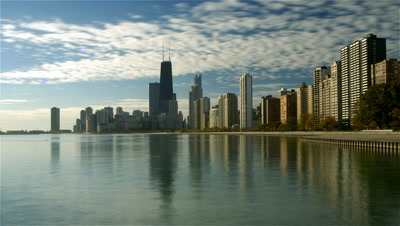 Chicago skyline and Lake Michigan,Illinois