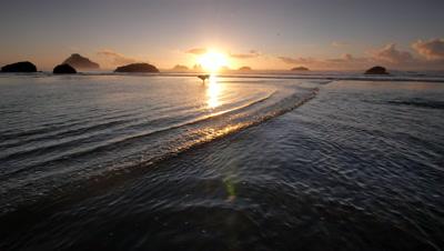 Teen boy running with his dog on beach,Pacific Coast,Oregon