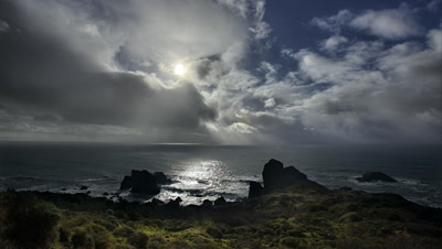Clearing storm over Pacific Ocean Oregon Coast